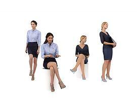职业女性人物组合模型