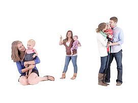 夫妻抱小孩模型