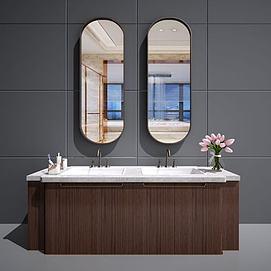 新中式卫浴柜?#35789;?#27744;模型