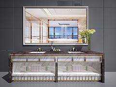 新中式卫浴柜洗脸台面模型3d模型