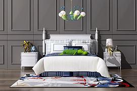 现代北欧双人床吊灯组合模型