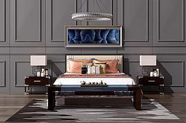 新中式双人床吊灯组合模型