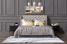 欧式美式双人床吊灯组合模型