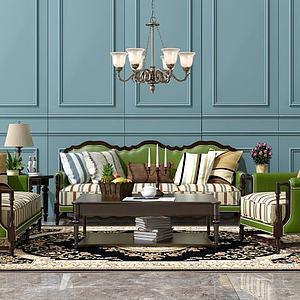 3d<font class='myIsRed'>美式沙发</font>茶几吊灯组合模型