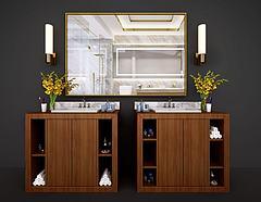 新中式卫浴柜洗脸台模型3d模型