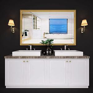 现代北欧卫浴柜洗?#31243;?#38754;模型
