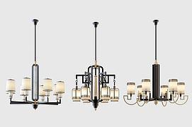 新中式吊灯水晶灯多头灯模型