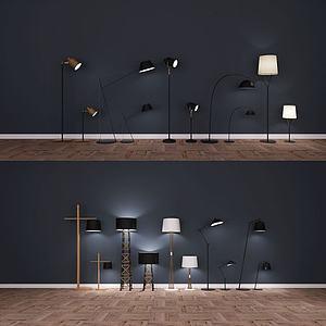 现代北欧新中式落地灯模型