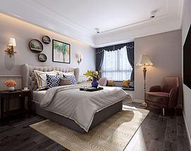 美式卧室双人床吊灯模型