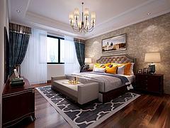 美式卧室双人床吊灯模型3d模型