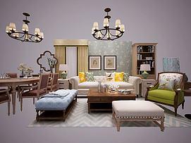 美式沙发茶几窗帘餐桌椅模型