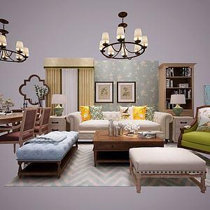 3d<font class='myIsRed'>美式沙发</font>茶几窗帘餐桌椅模型