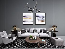 现代北欧沙发茶几吊灯模型