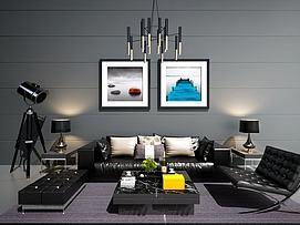现代沙发茶几吊灯装?#20301;?#27169;型