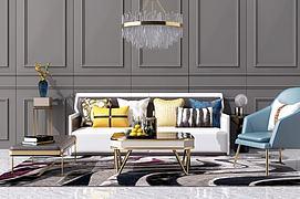 新中式沙发茶几装?#20301;?#32452;合模型