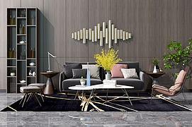 新中式沙发茶几装饰柜模型