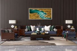 新中式沙发茶几装?#20301;?#27169;型