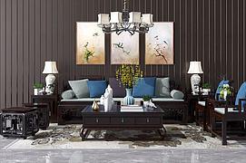 新中式沙发茶几吊灯装?#20301;?#27169;型