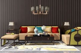 新中式沙发茶几吊灯组合模型