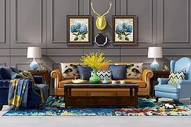 美式沙发茶几装?#20301;?#32452;合模型
