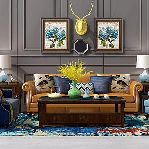 3d<font class='myIsRed'>美式沙发</font>茶几装?#20301;?#32452;合模型