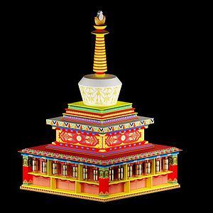 西藏白塔,舍利塔,转经筒模型