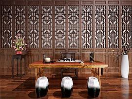 新中式书桌写字桌装饰柜模型