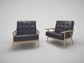 北欧单人沙发模型