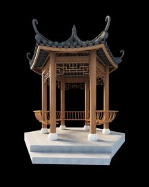 3d中式传统古建凉亭模型