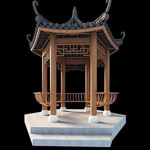3d中式傳統古建涼亭模型