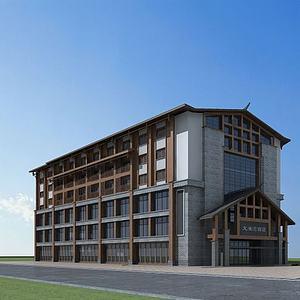 中式酒店模型3d模型