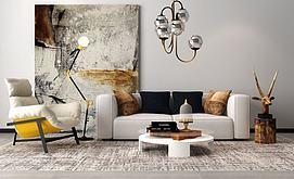 北欧风格的沙发组合模型