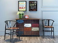 工业风鞋柜矮柜边柜装饰柜模型3d模型