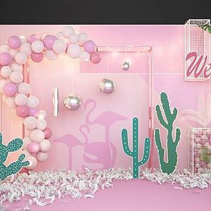 婚慶氣球網紅合影區背景墻模型3d模型
