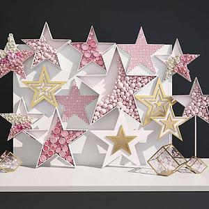網紅婚慶合影五角星背景墻模型3d模型