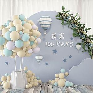 現代氣球婚慶現場合影區模型3d模型