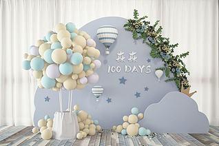 现代气球婚庆现场合影区3d模型