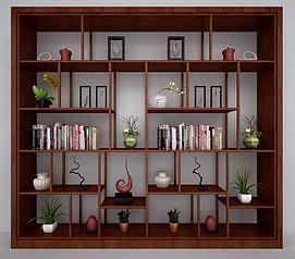 新中式酒柜书柜装饰柜模型