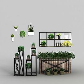 绿植花架盆栽模型
