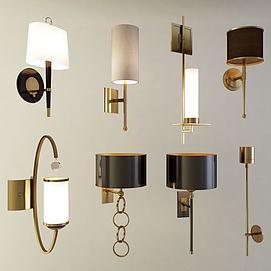 现代北欧壁灯组合模型