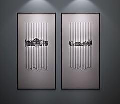 新中式装饰画挂画模型3d模型