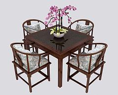 新中式餐桌椅组合模型3d模型