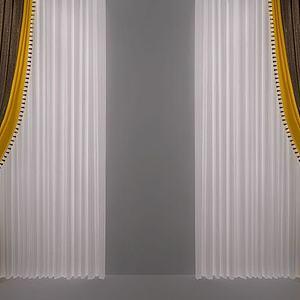 现代北欧窗帘模型