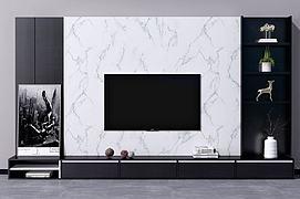 现代北欧电视墙电视柜模型