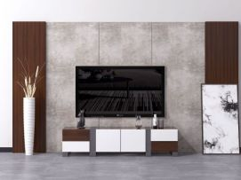 现代北欧电视背景墙电视柜模型
