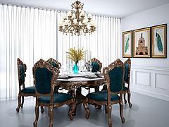 美式圆形餐桌椅吊灯组合模型3d模型