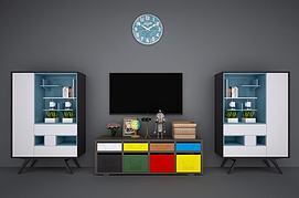 现代北欧电视柜书柜装饰柜模型