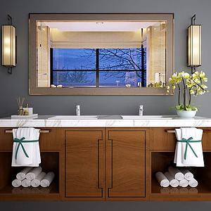 新中式洗手台面盆柜组合模型