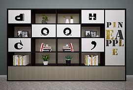 现代北欧书柜展柜装饰柜模型