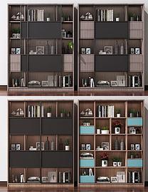 现代北欧书柜装饰柜模型